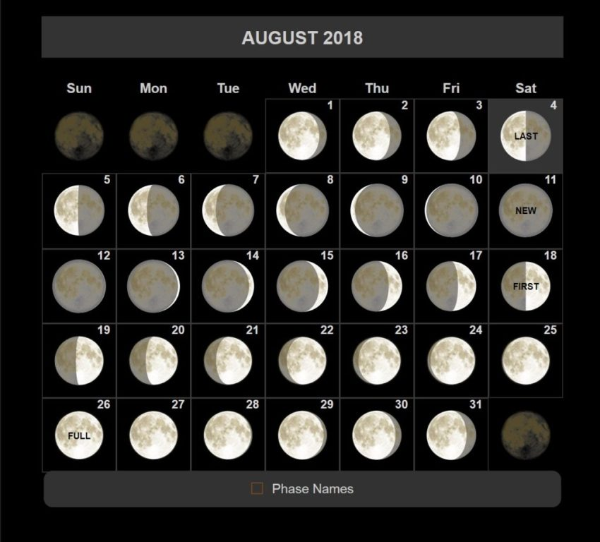 Full Moon Phases August 2018