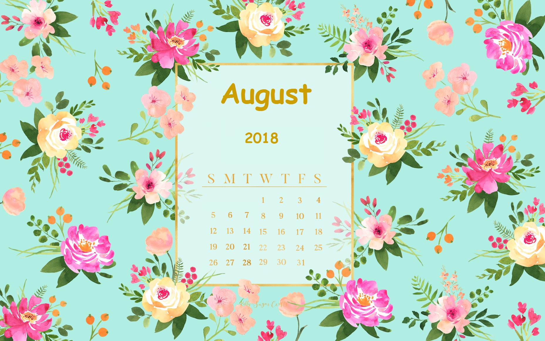 Goodbye July Hello August 2018 Calendar