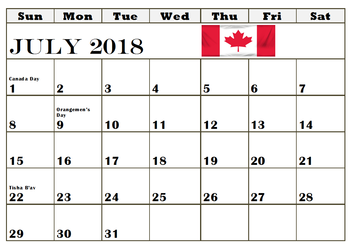 Holidays In Canada July 2018