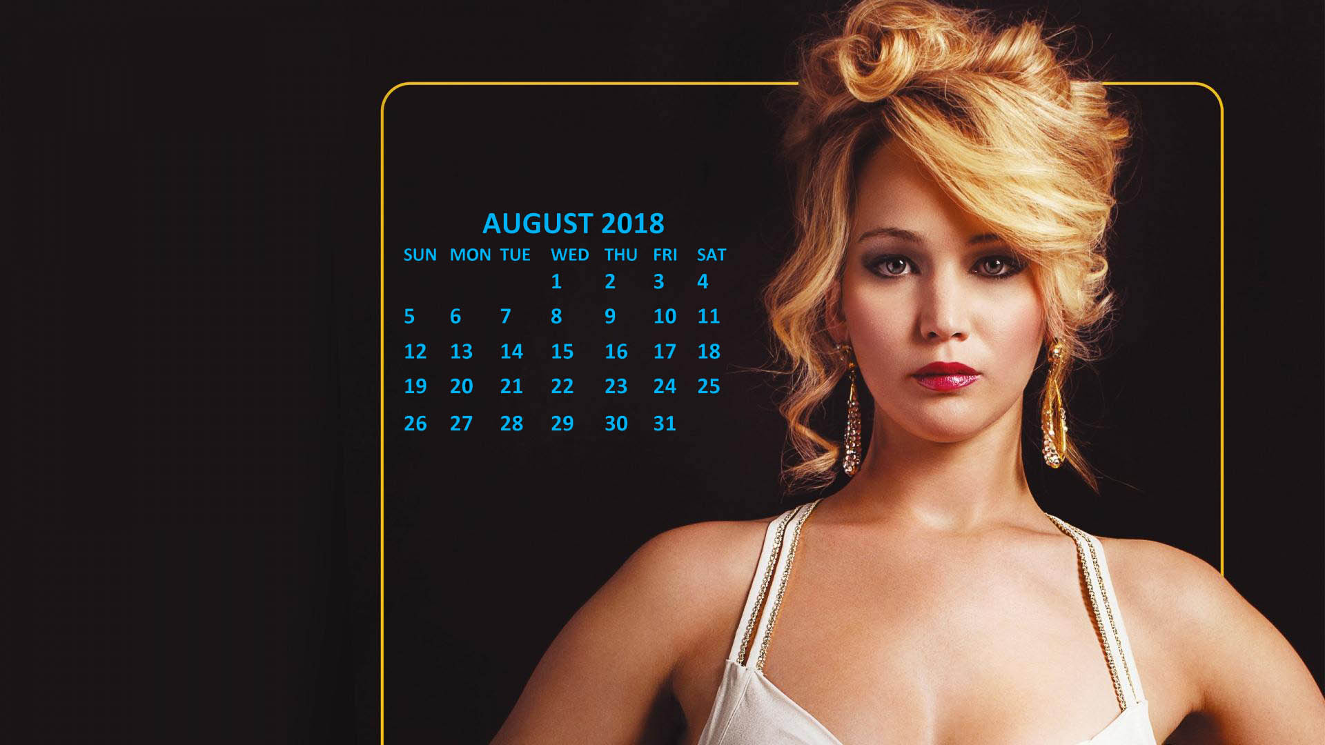 Jennifer Lawrence 2018 August Calendar
