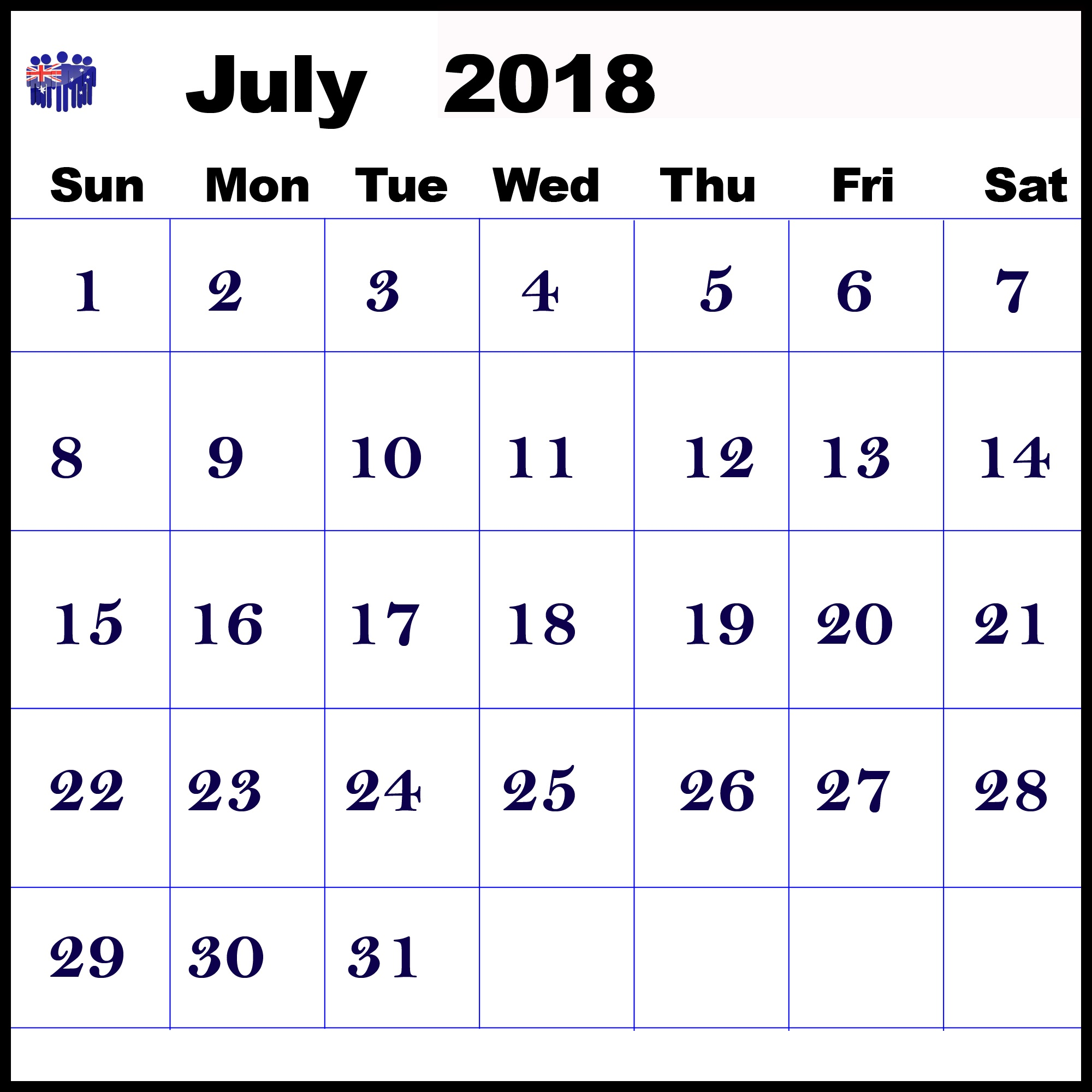 July 2018 Calendar Australia Bank Holidays