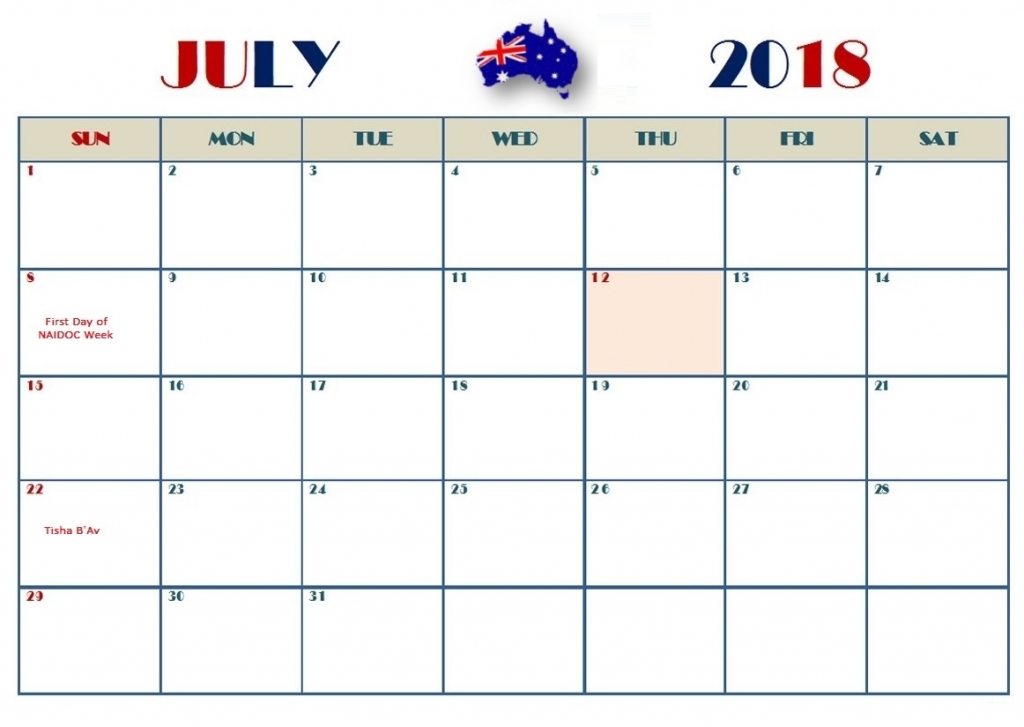 July 2018 Calendar Australia Country