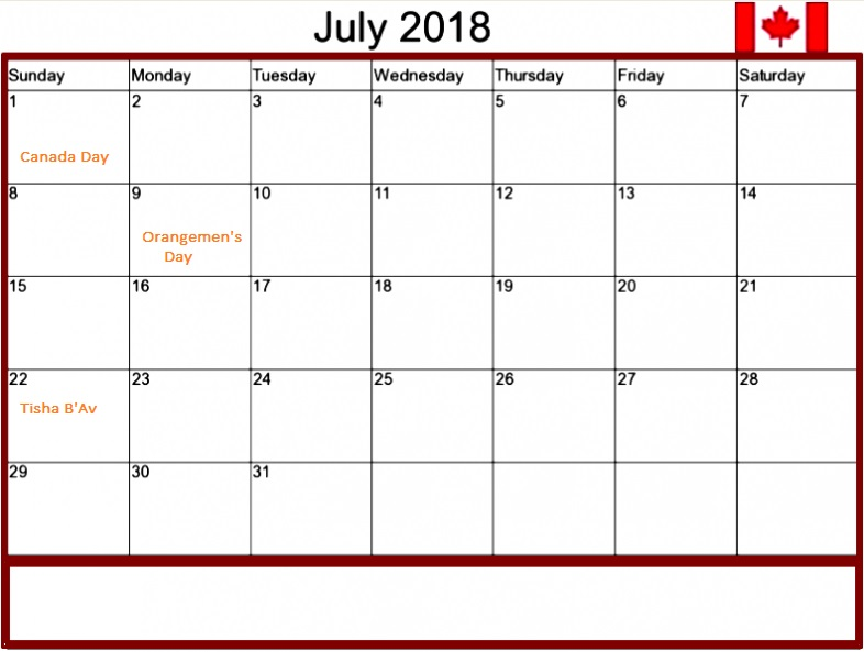 July 2018 Calendar Canada Bank Holidays