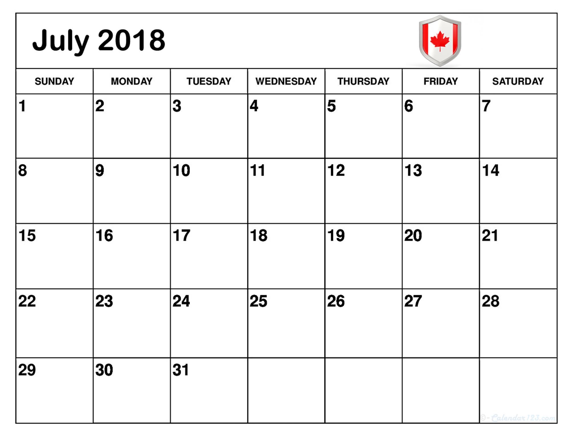 July 2018 Calendar Canada National Holidays