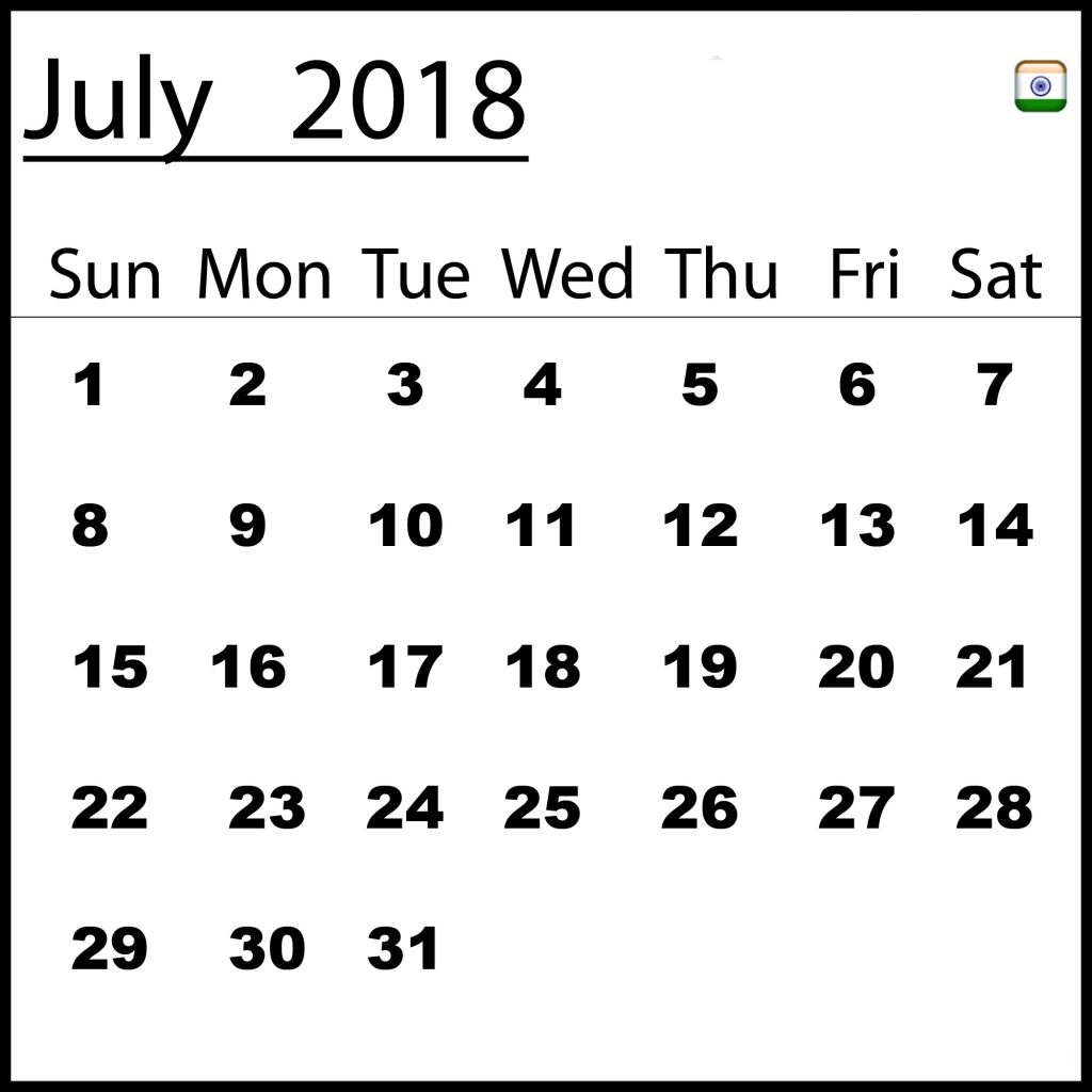 July 2018 Calendar India Excel