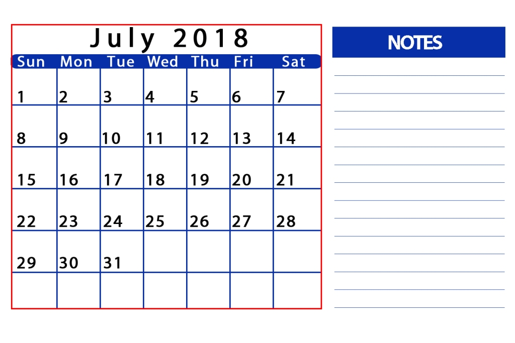 July 2018 Calendar Table