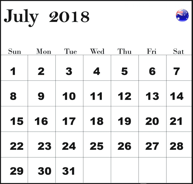 July 2018 Calendar With Australia Public Holidays