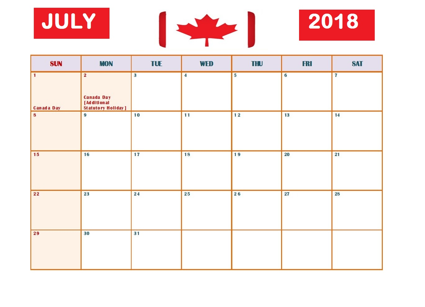 July 2018 Calendar With Holidays Canada