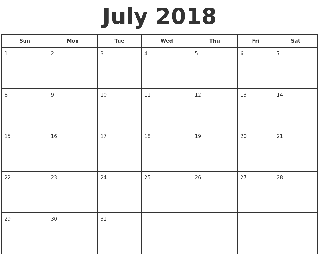 July 2018 Calendar Word Printable