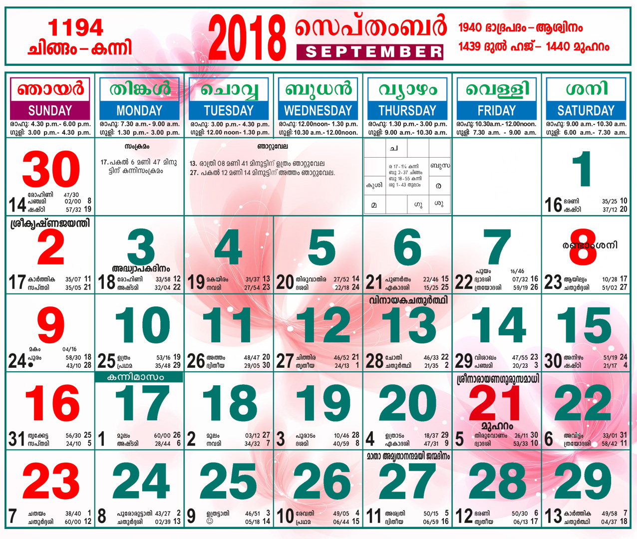 Malayalam Calendar September 2018