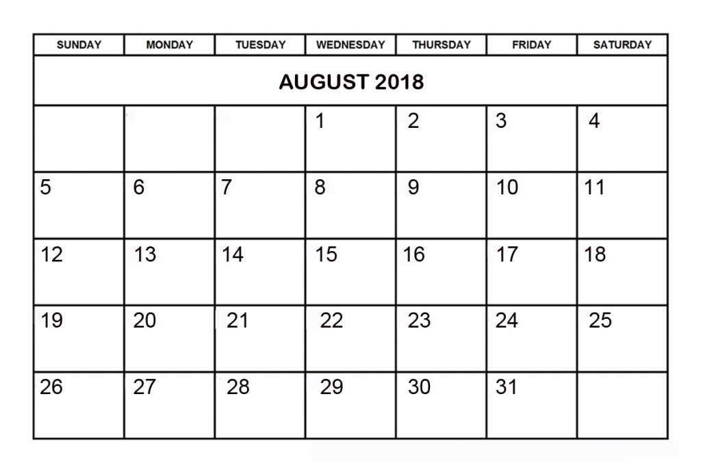 Monthly August 2018 Printable Calendar