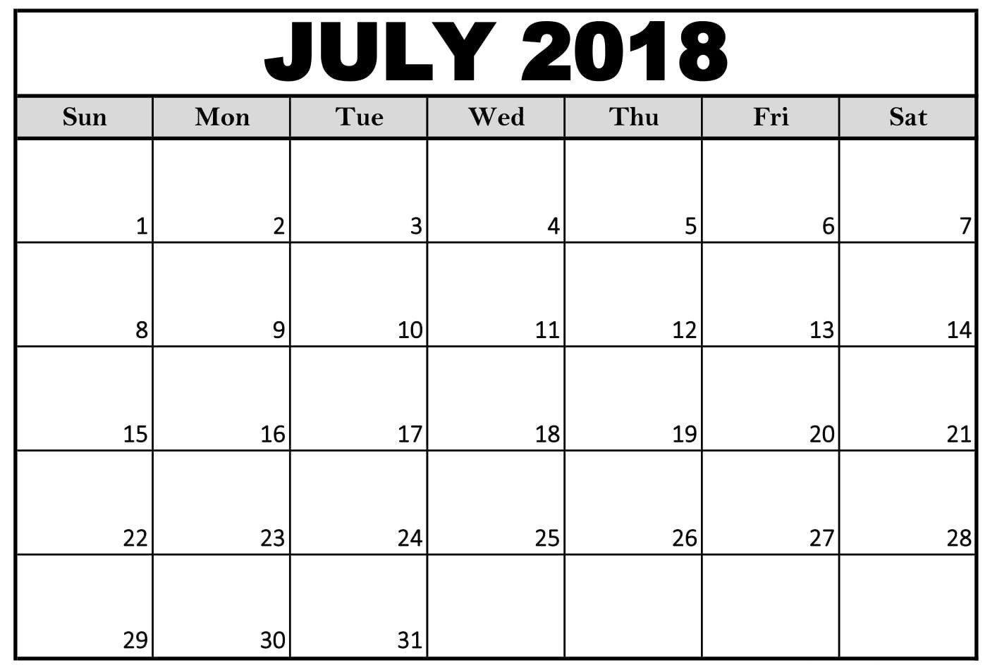 Monthly Calendar 2018 July