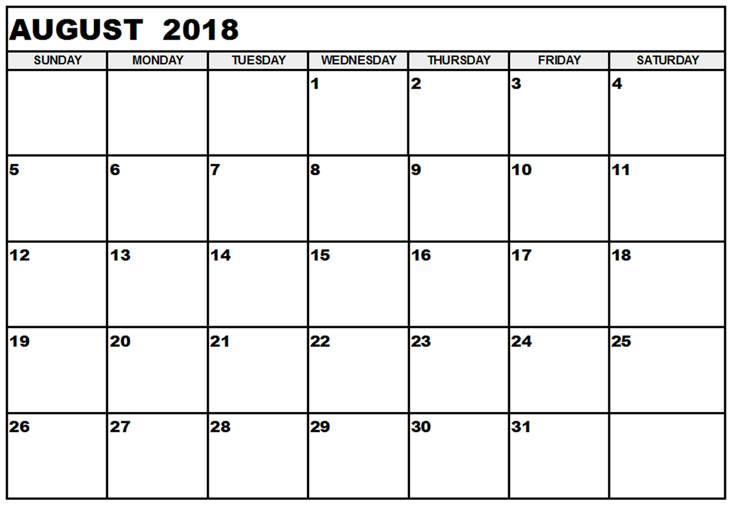 Monthly Calendar August 2018 Printable Template