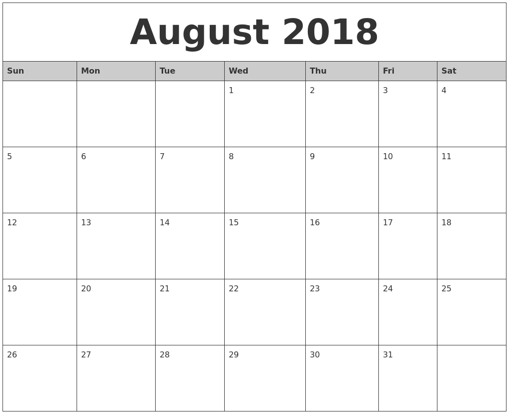 Monthly Calendar August 2018 Excel