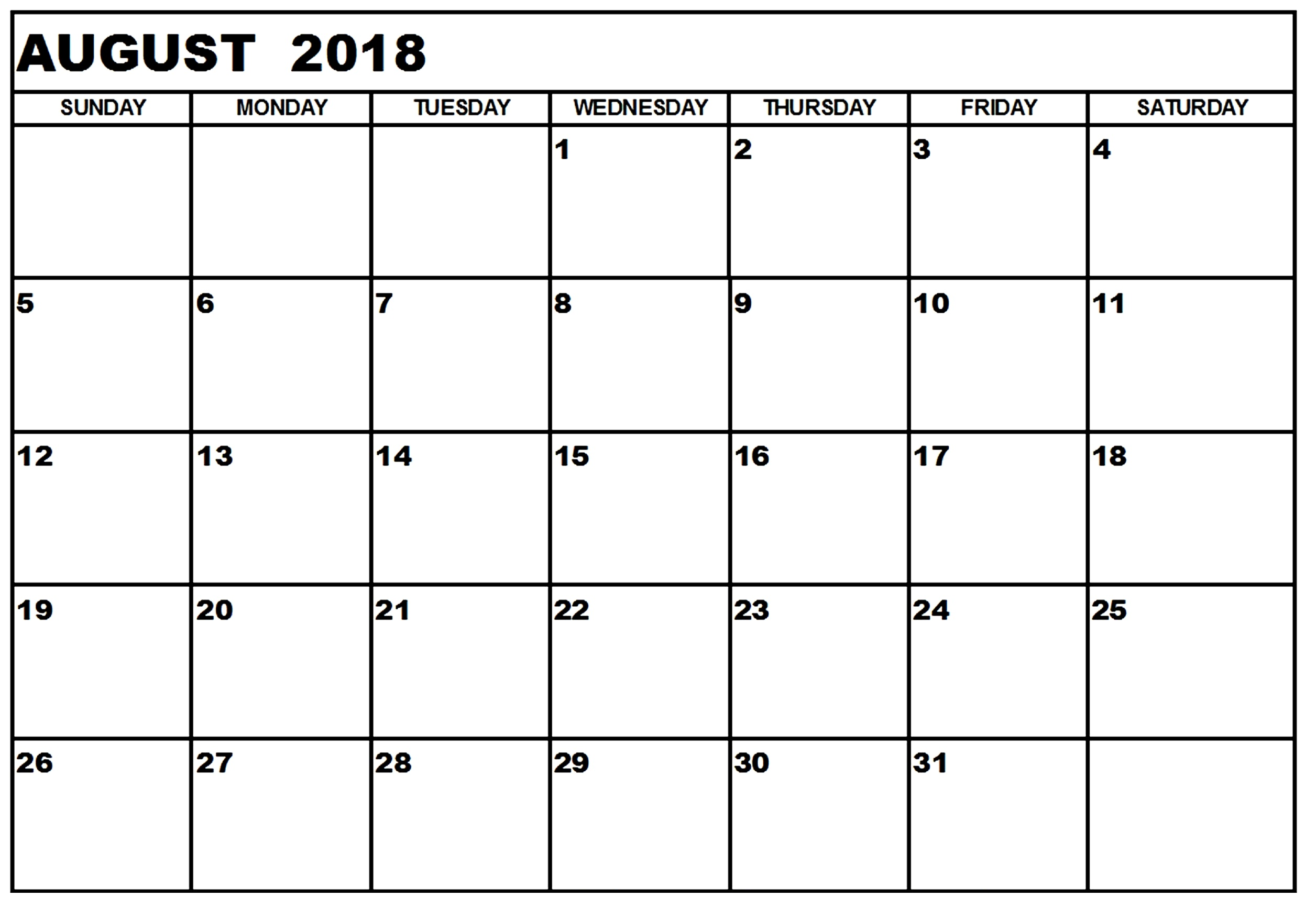 Monthly Calendar August 2018 Printable