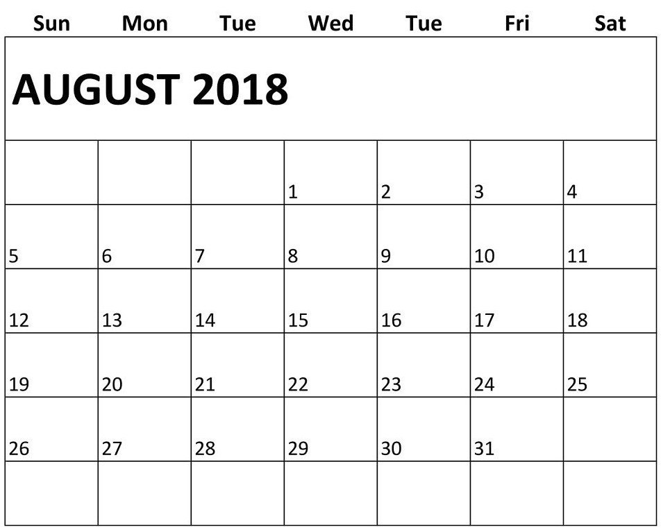 Monthly Calendar August 2018 Template