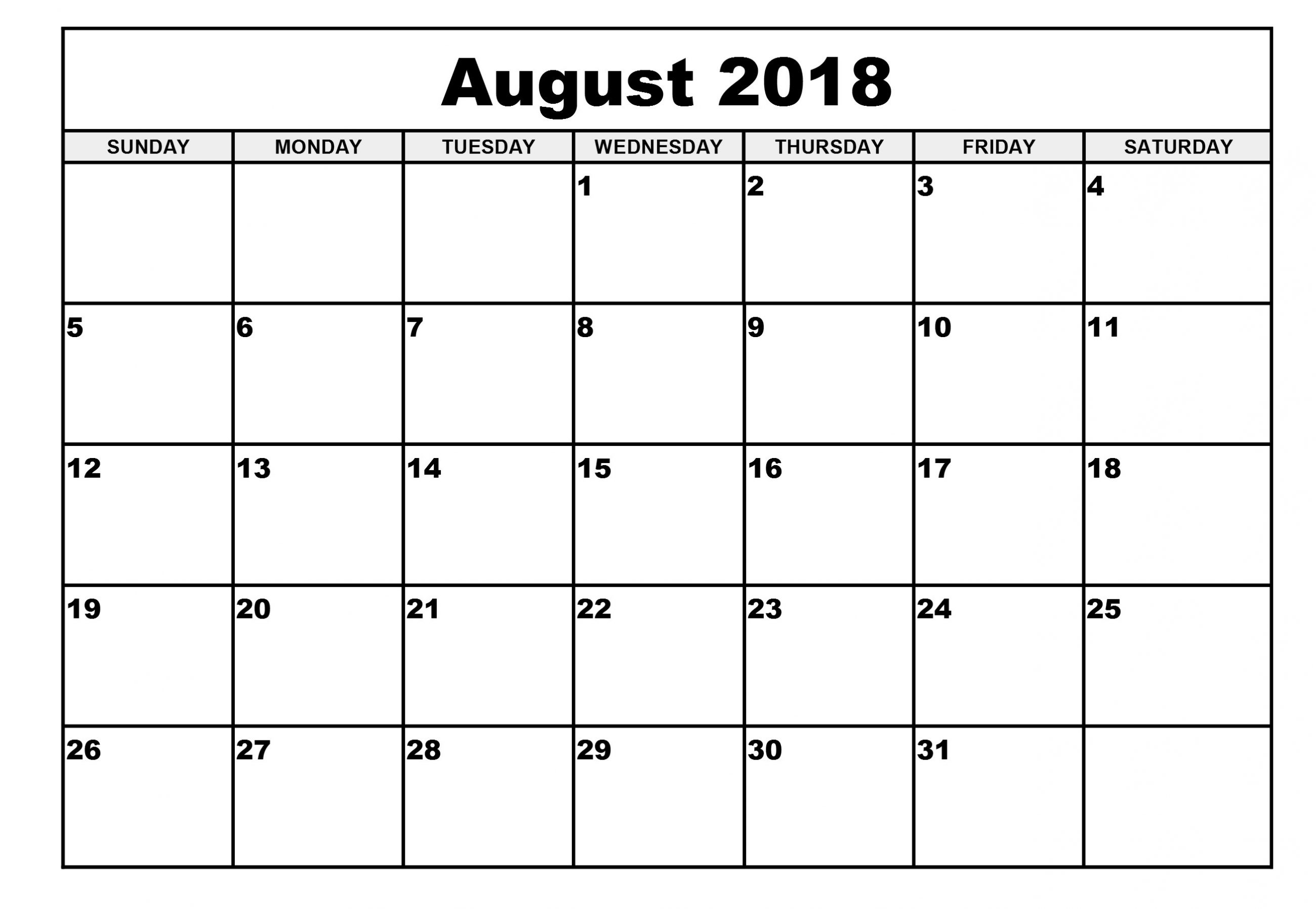 Monthly Calendar August Month 2018