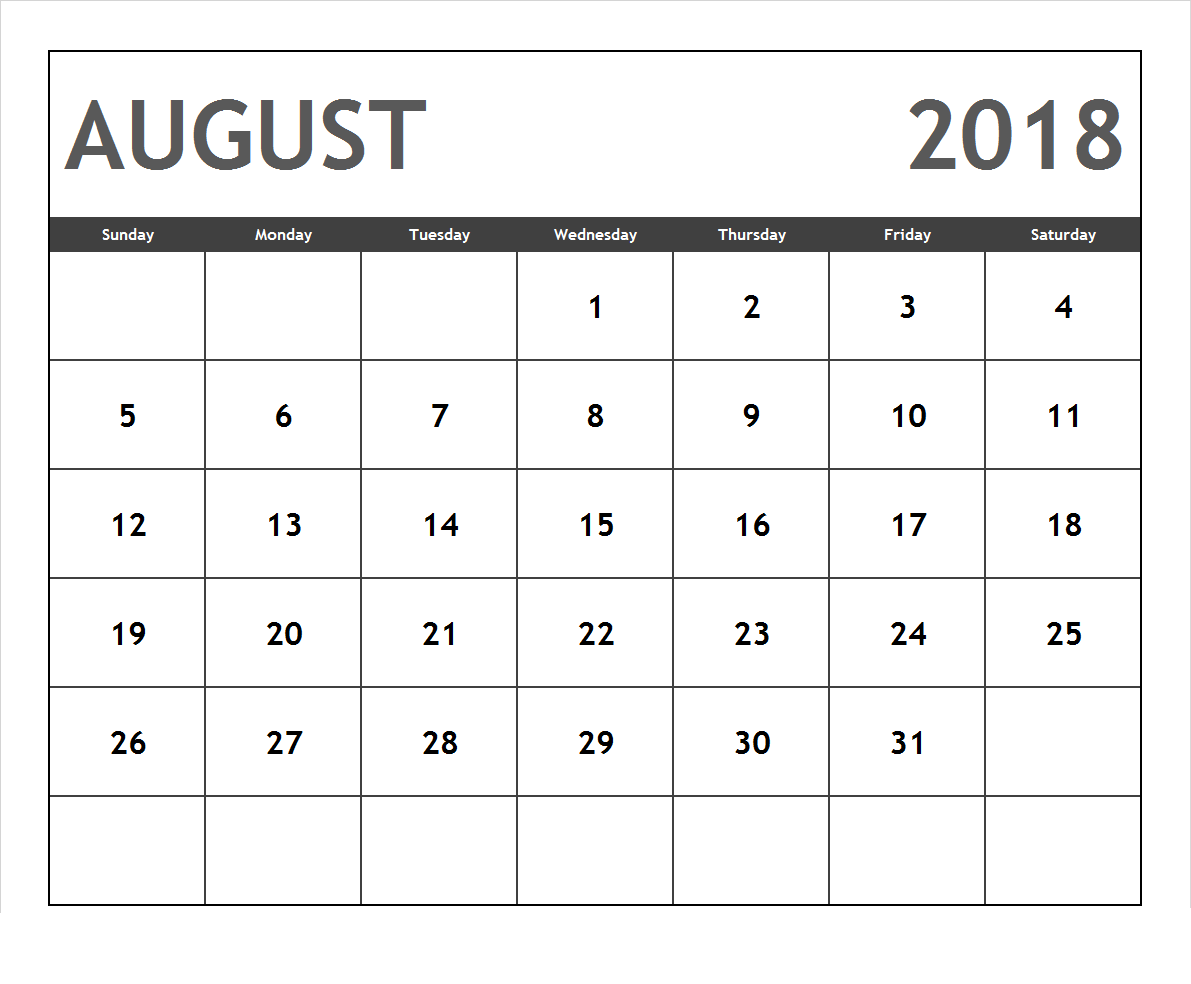 Monthly Calendar For August 2018