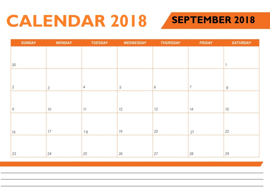 Monthly Calendar For September 2018 Calendar, September 2018 Planner Calendar Vector