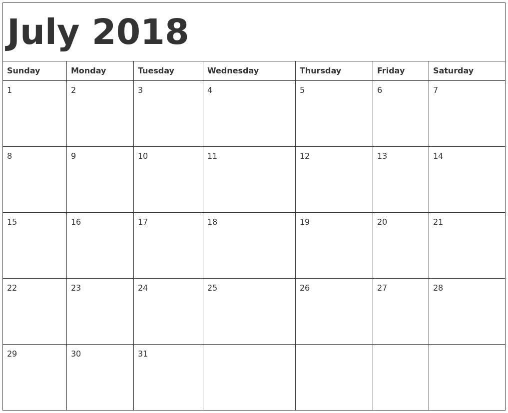 Monthly July 2018 Calendar Excel