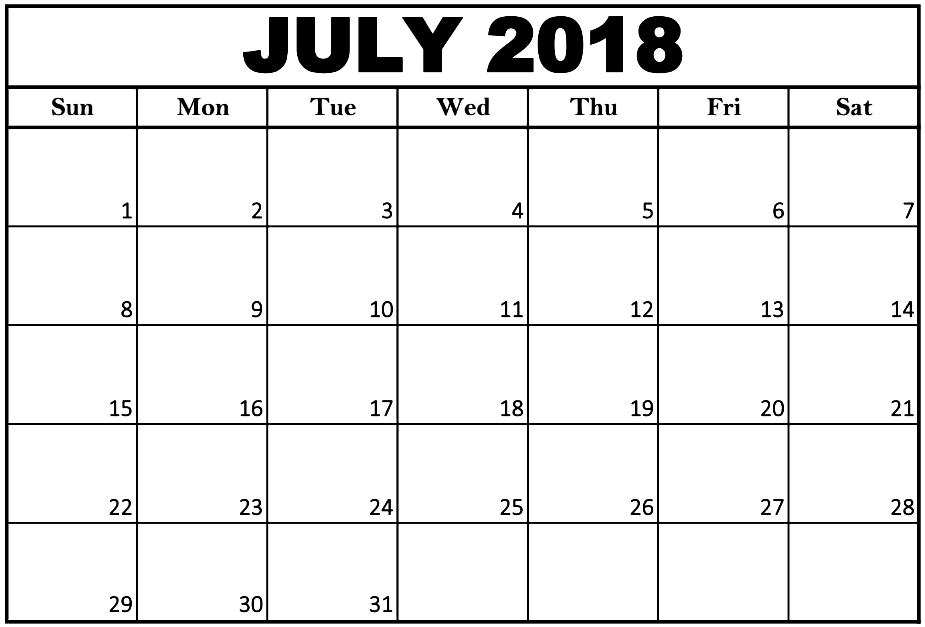 Monthly July 2018 Calendar Word