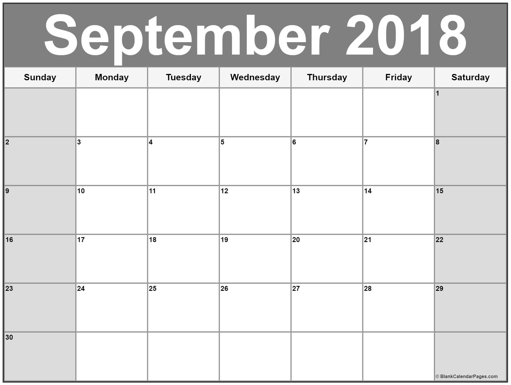 Monthly September Calendar 2018