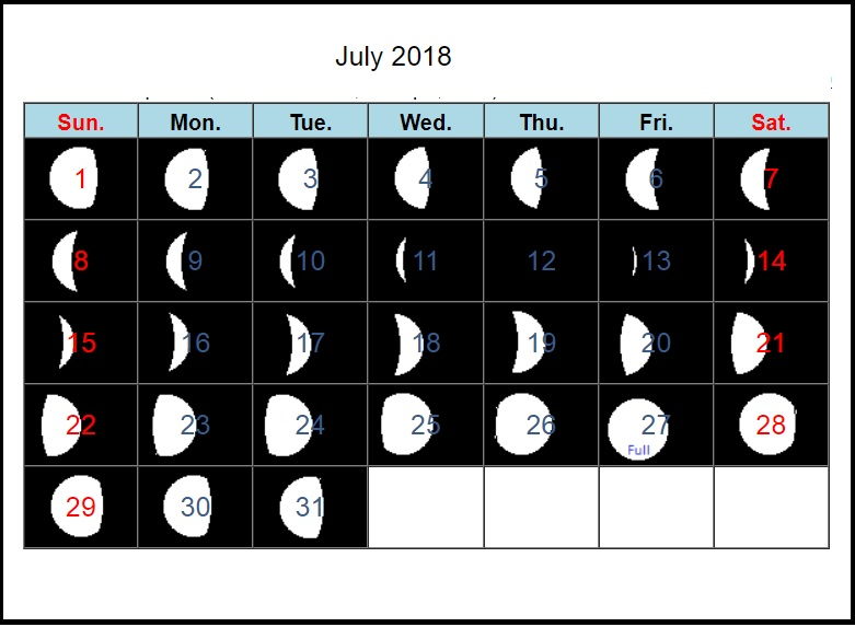 New Moon Calendar July 2018