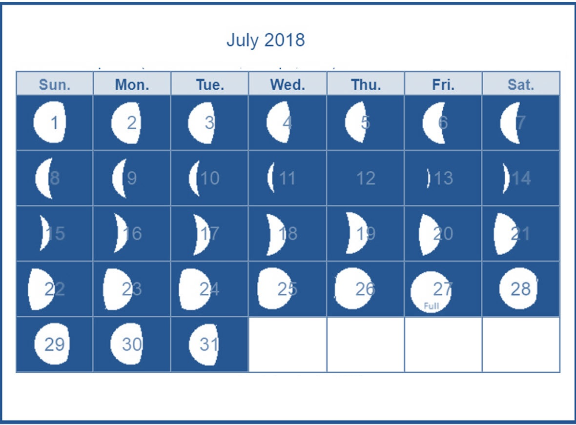 Online Moon Calendar July 2018