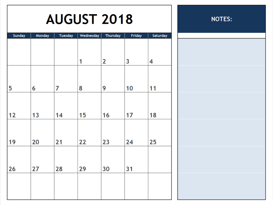 Printable August 2018 Calendar With Notes