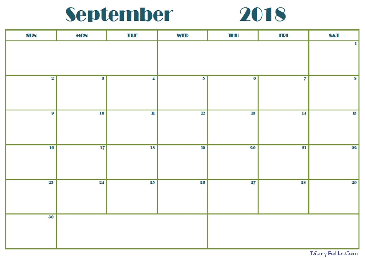 Printable Calendar For September 2018
