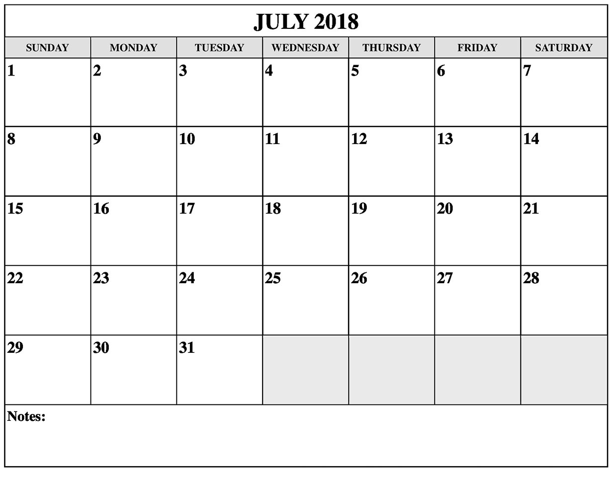 Printable July 2018 Calendar Word