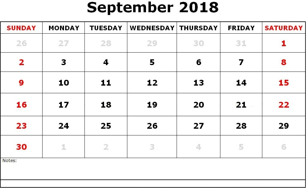 Printable September 2018 Calendar Download