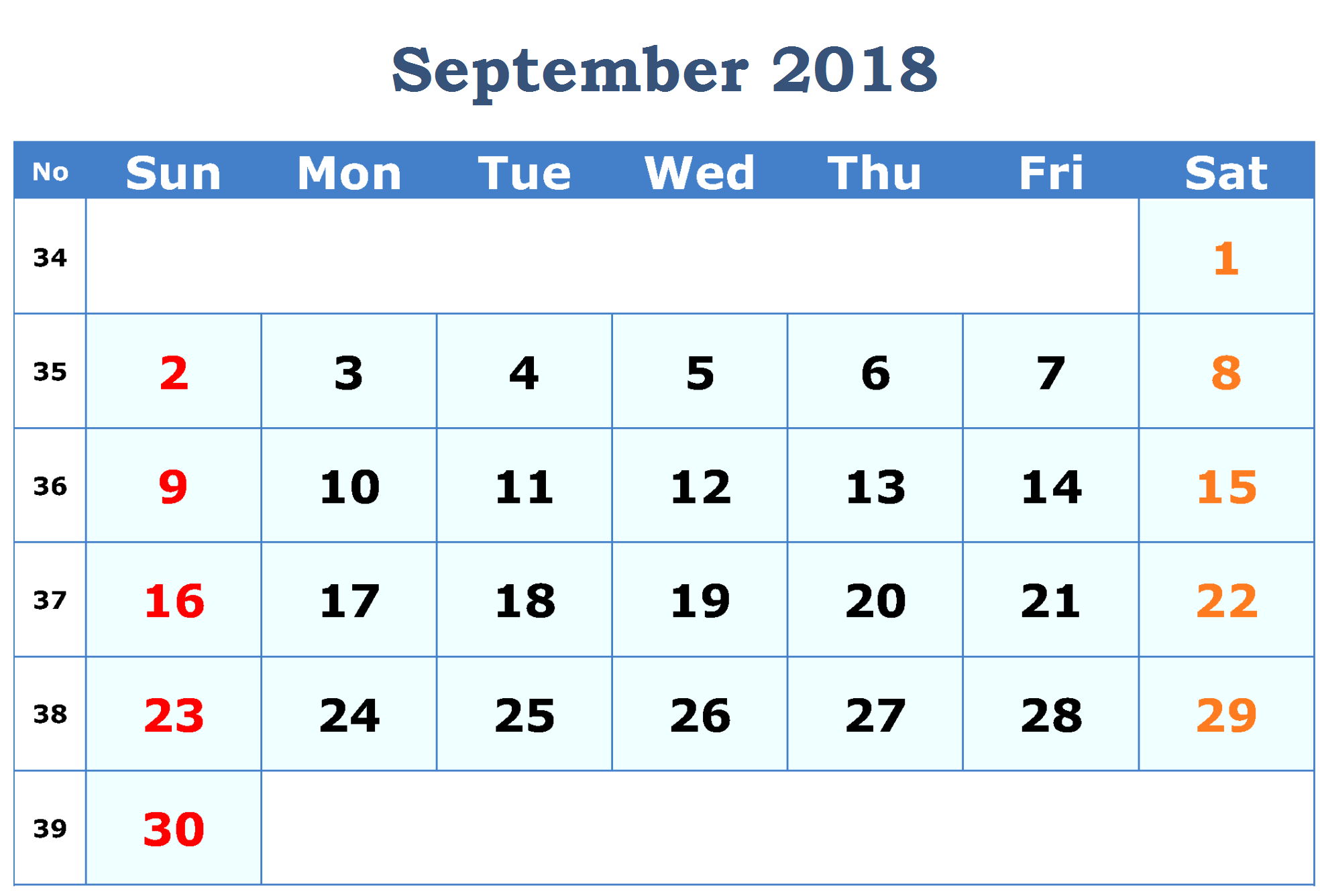 Printable September 2018 Calendar PDF Word Excel