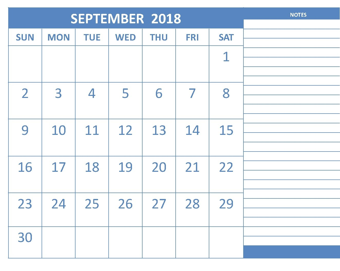 Printable September 2018 Calendar With Notes