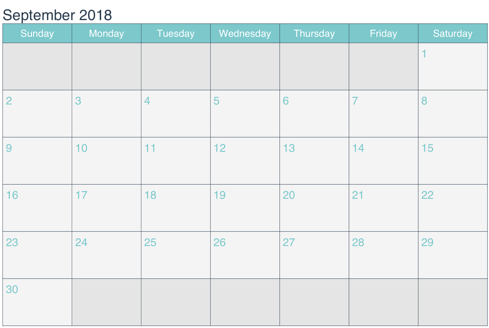 Printable September 2018 Calendar Word