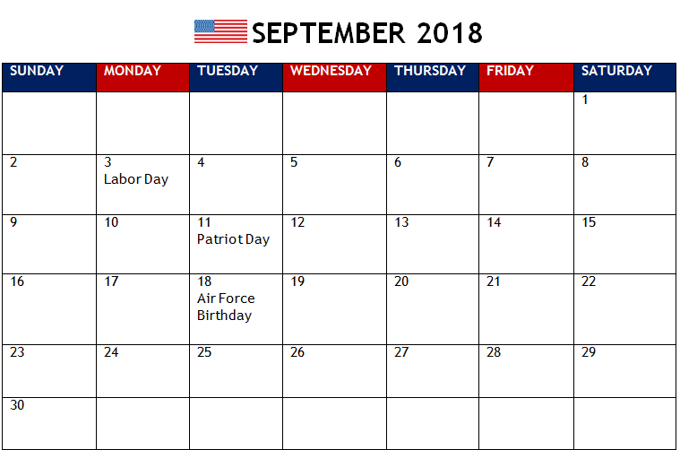 September 2018 Calendar Holidays Printable