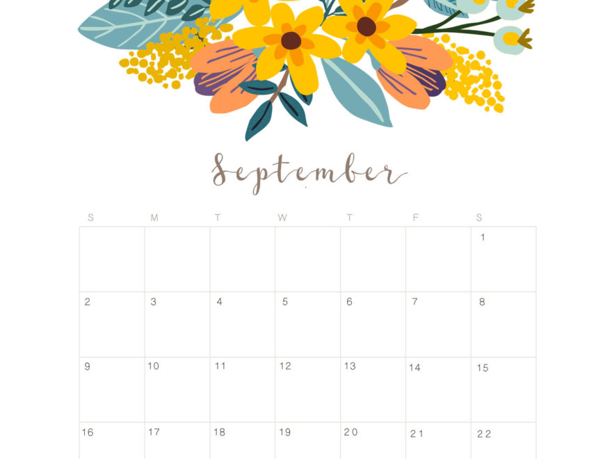 September 2018 Calendar Monthly Planner Printable