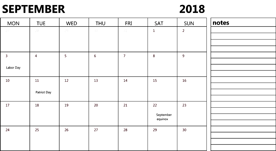 September 2018 Calendar Notes Printable