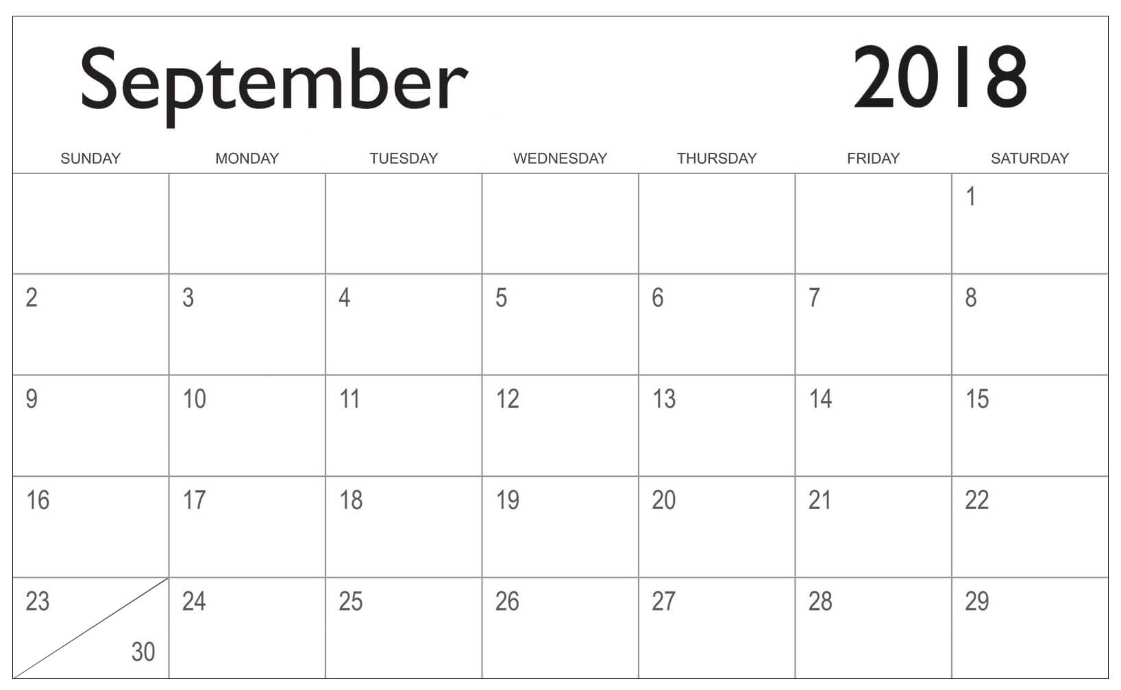 September 2018 Calendar Template Printable