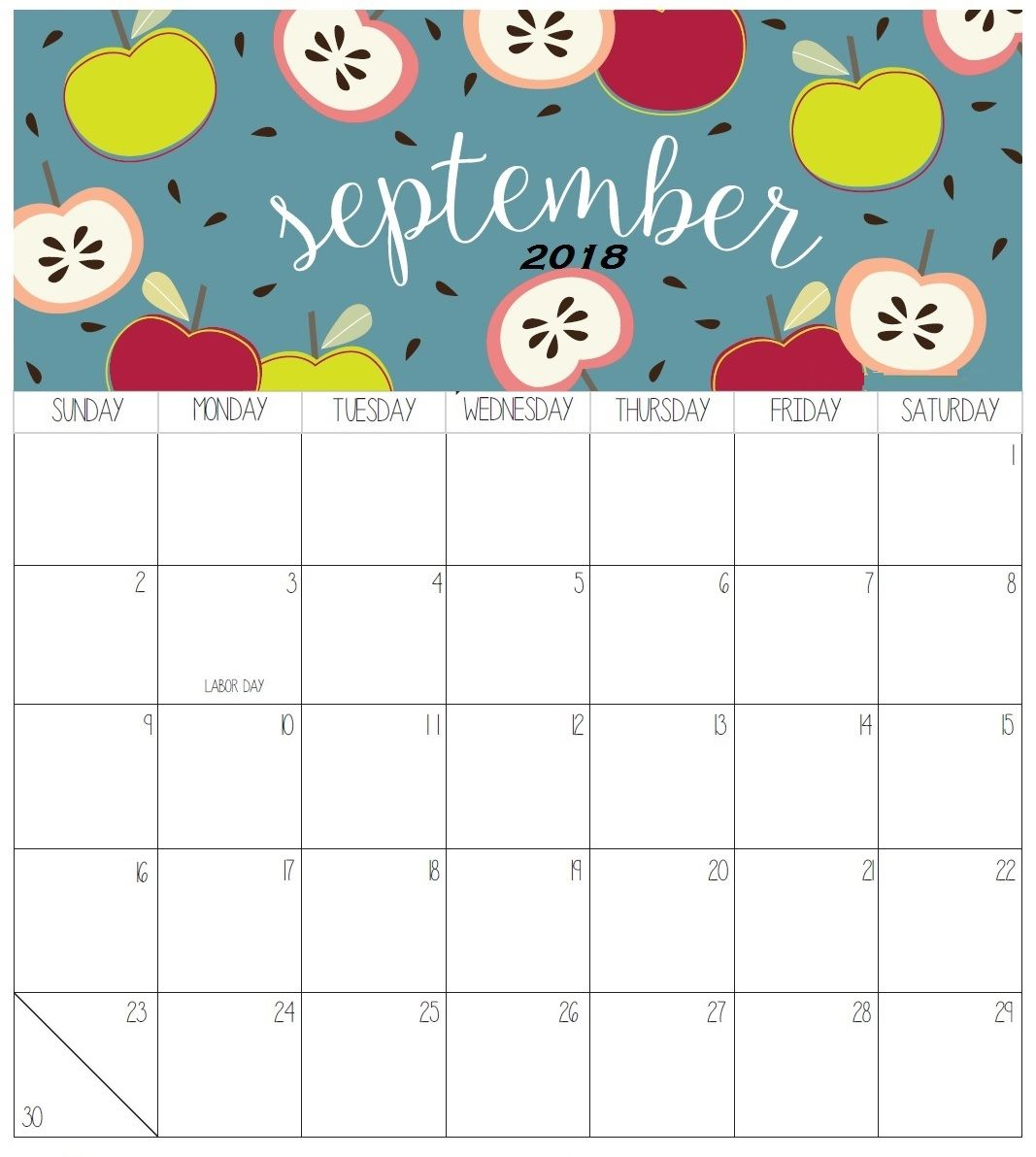 September 2018 Colorful Calendar For Desk