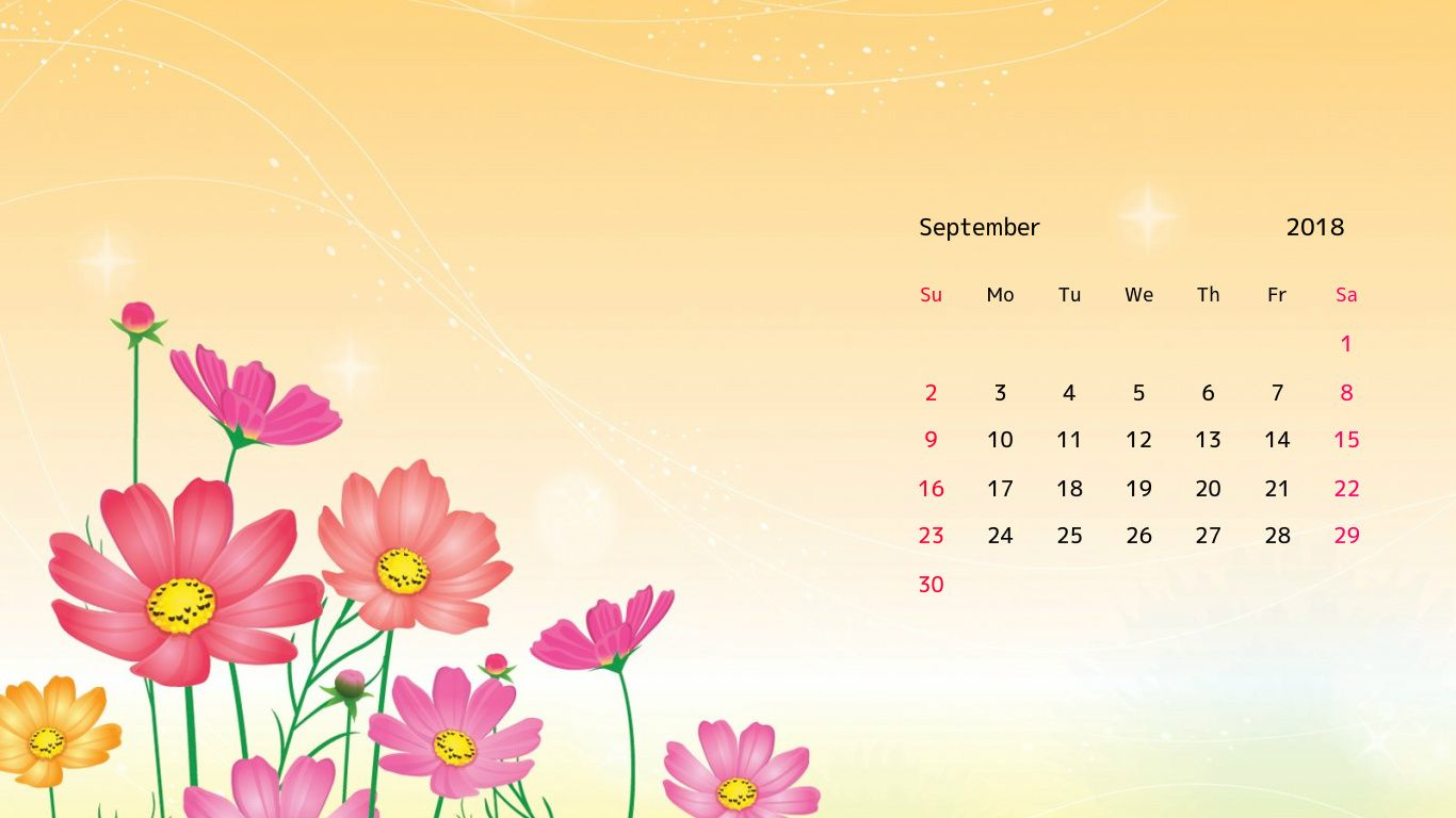 September 2018 Flower Background Calendar