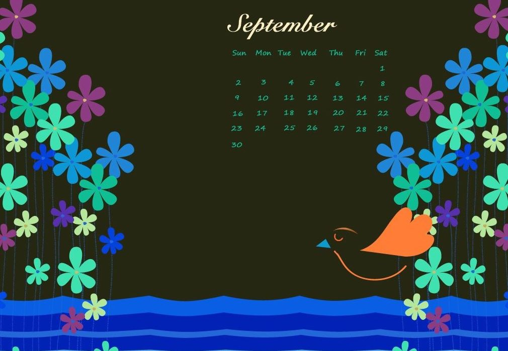September 2018 Flower Calendar Wallpaper