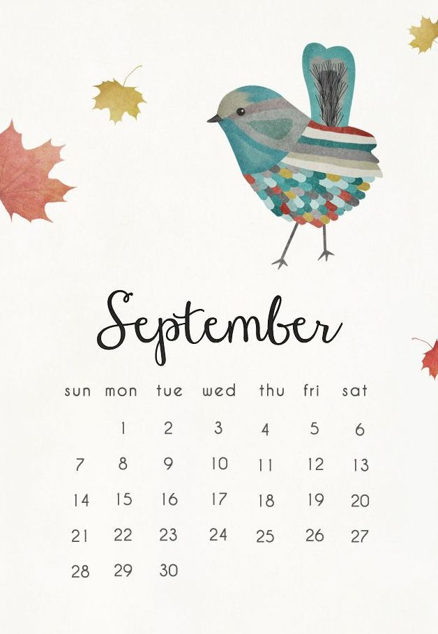 September 2018 calendar mobile wallpaper