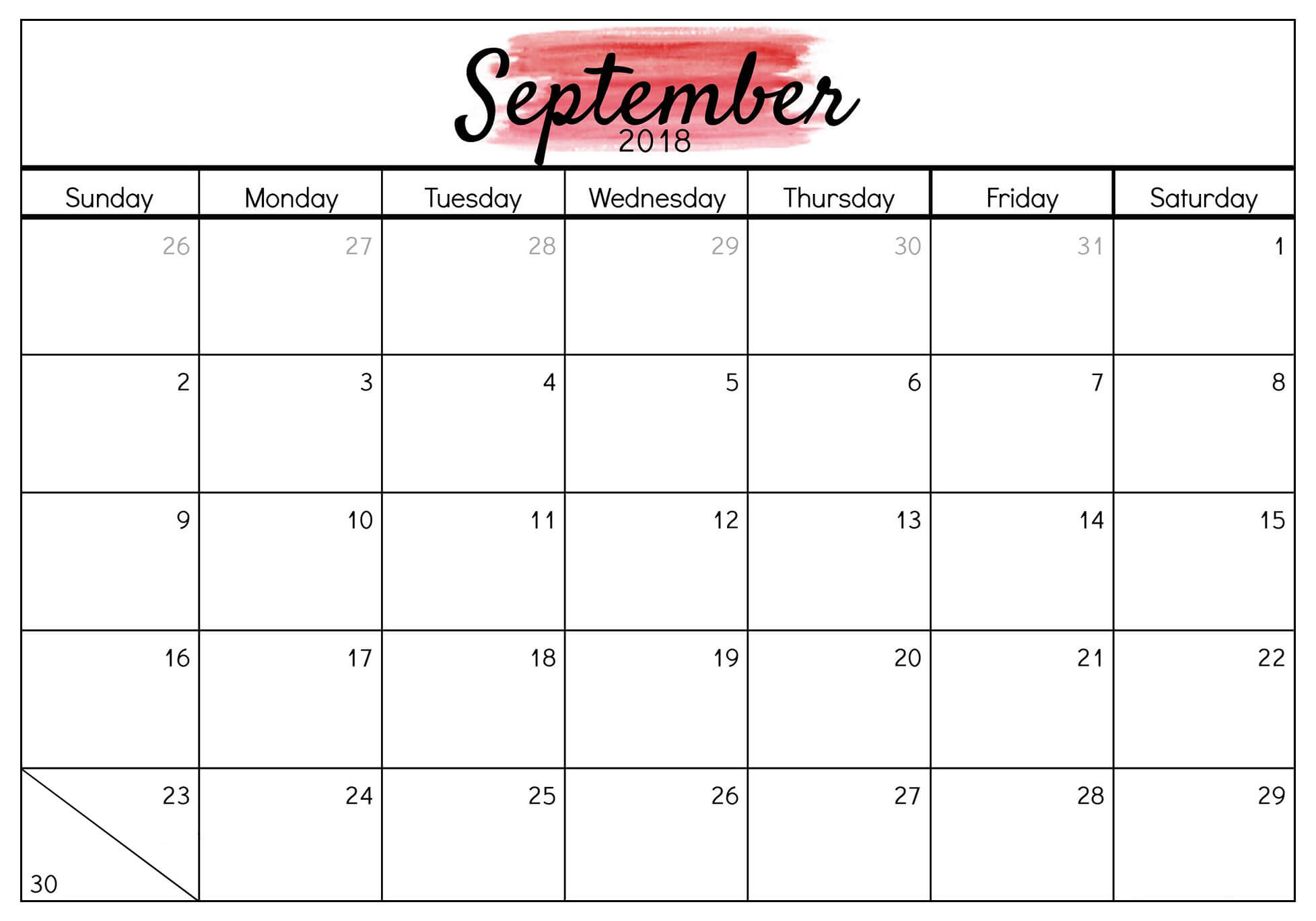image regarding Free Printable September Calendar named September Calendar 2018 Template In just PDF, Phrase, Excel