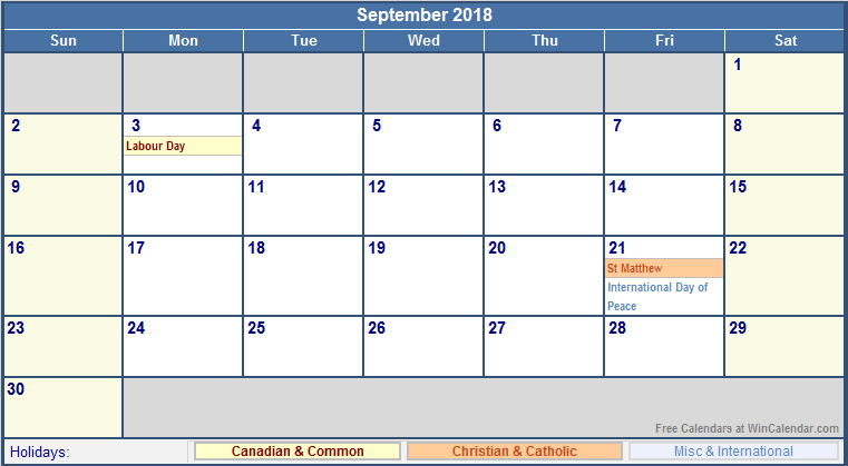 September Calendar 2018 With Holidays