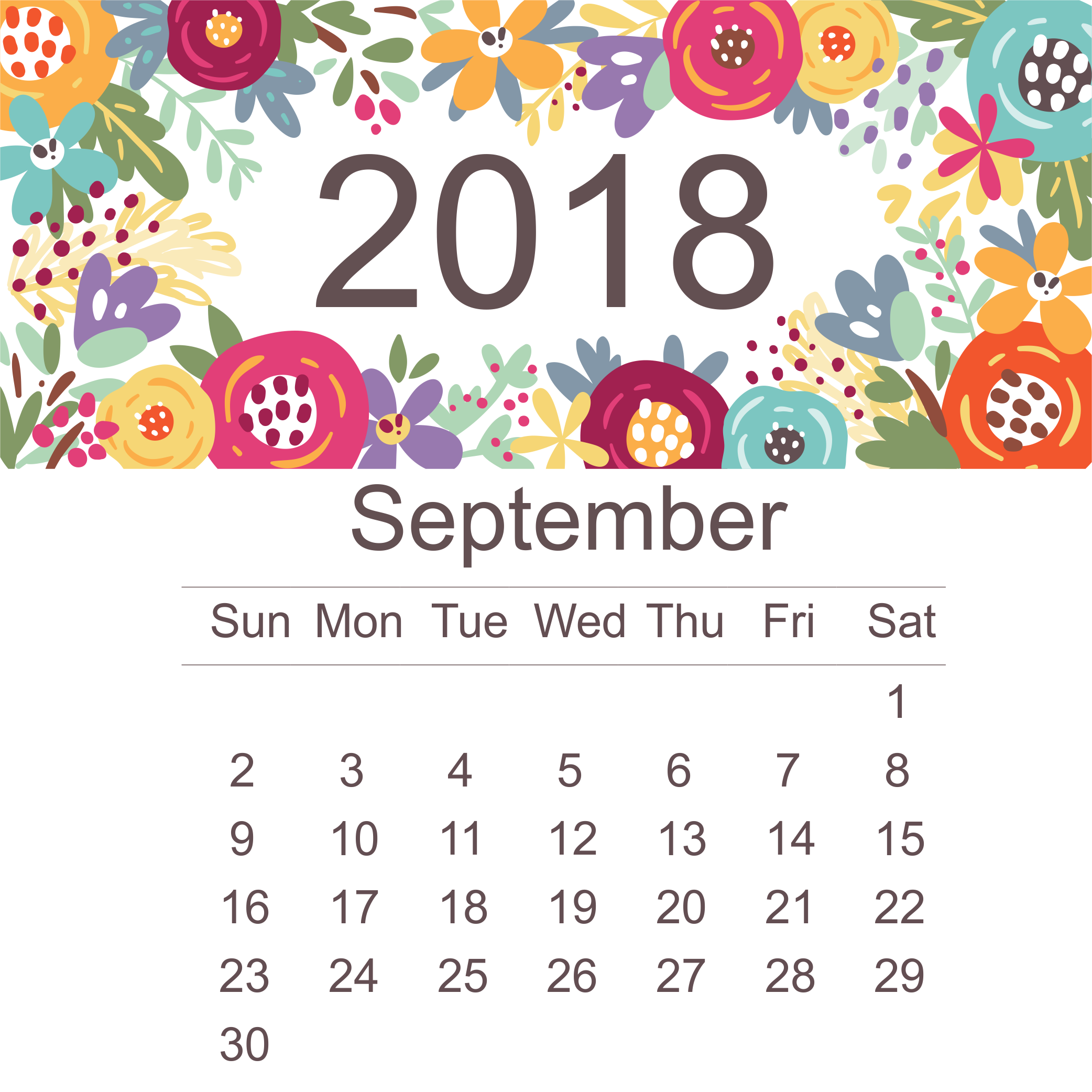 Stylish 2018 September Calendar