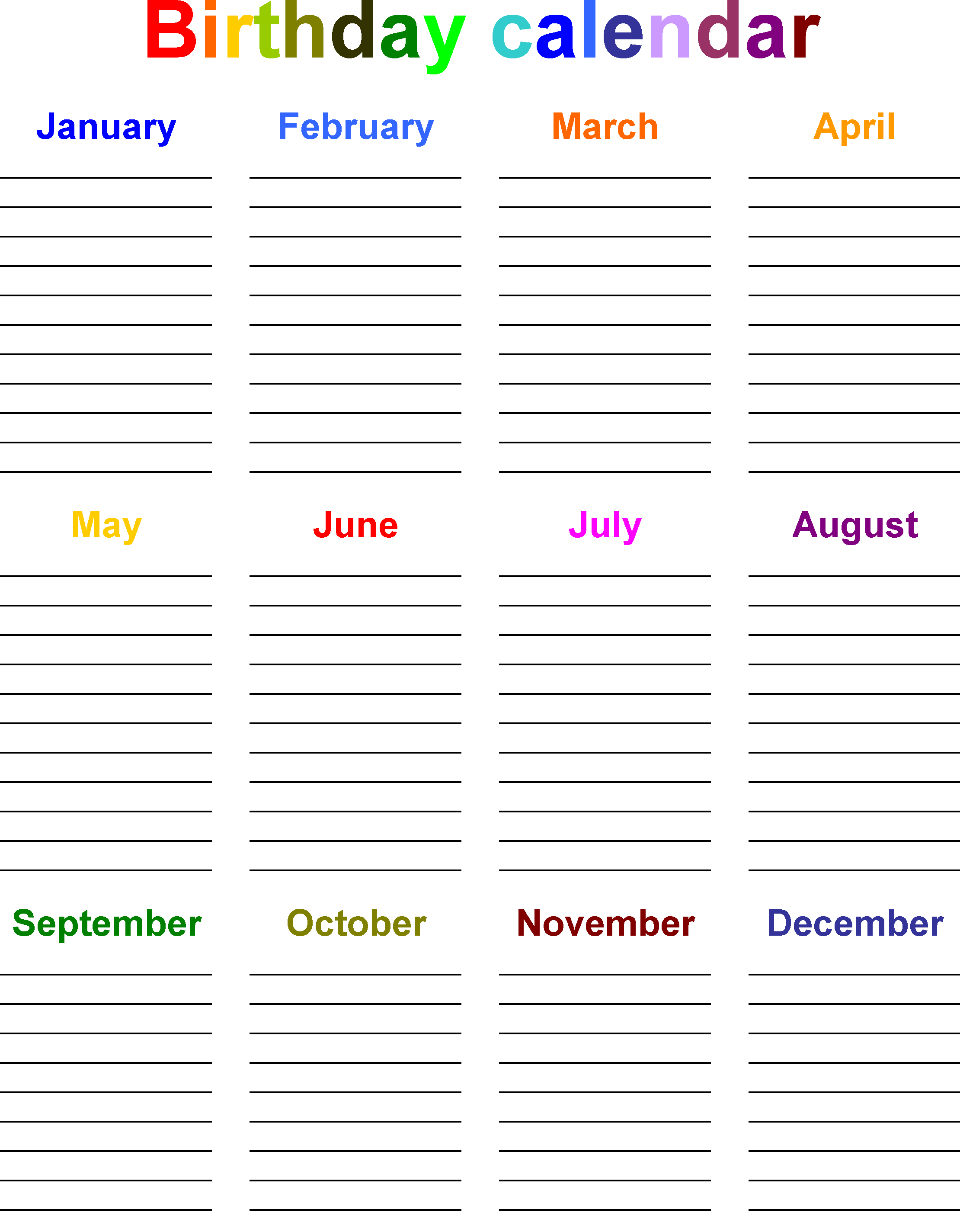 Birthday Calendar Template Excel Sheet