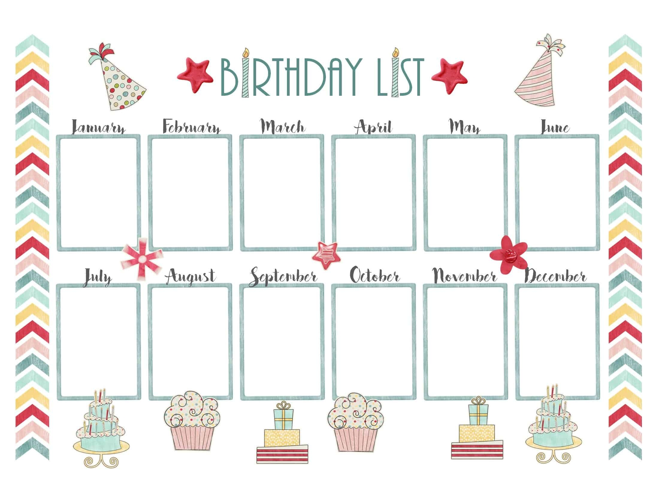 Birthday Calendar Template Free Microsoft Word