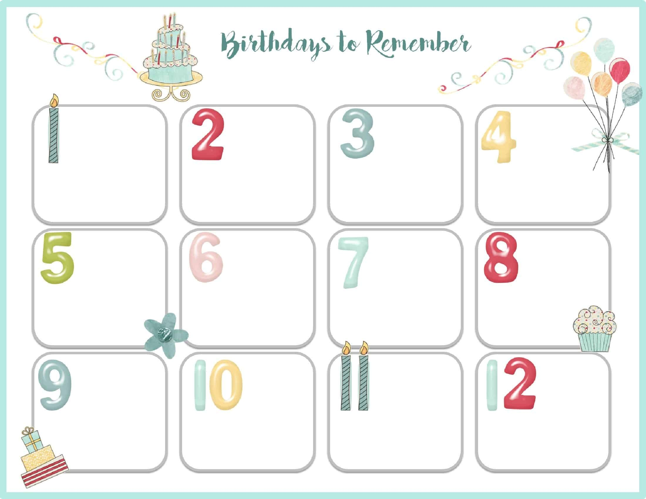 Birthday Calendar Template Printable Events
