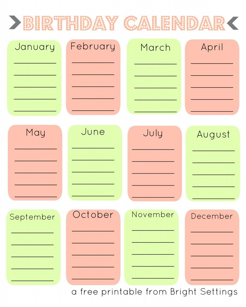 Blank Birthday Calendar Template Design